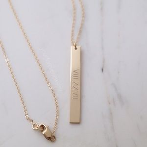 Jewelry - 14k Gold Filled Engraved Vertical Bar Necklace